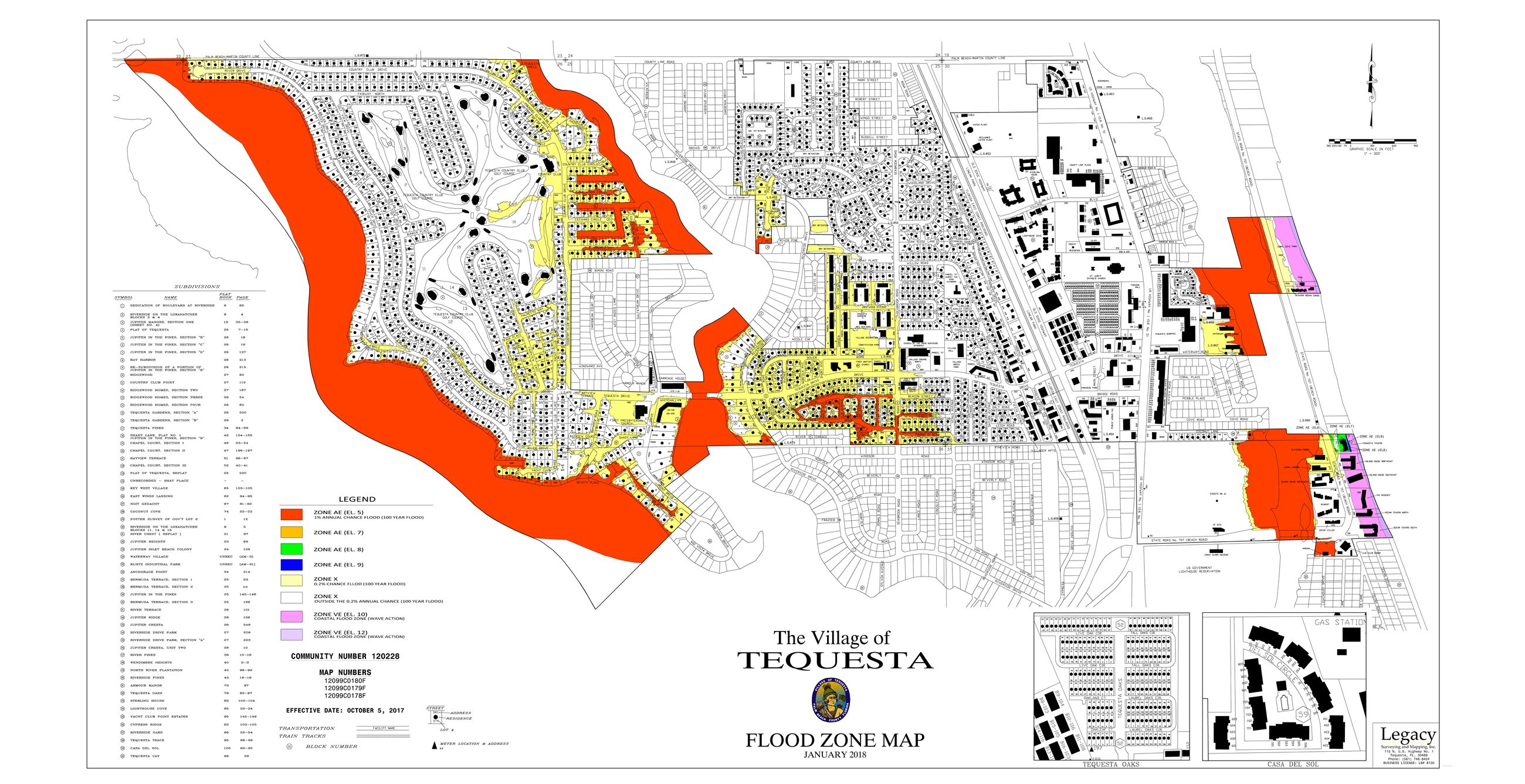 Tequesta Flood Zone Wall Map Building Department 36x70 HIGHEST