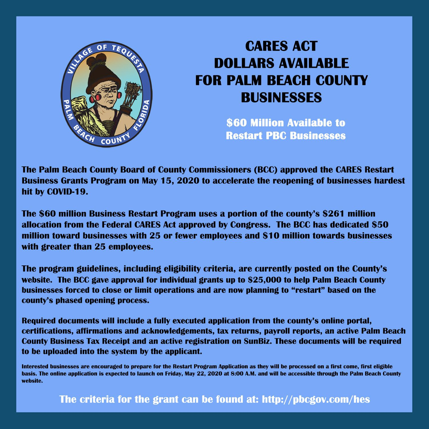 CARES ACT DOLLARS AVAILABLE FOR PALM BEACH COUNTY